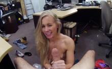 Tight blond bimbo fucked in the backroom
