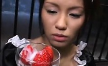 Japanese Maid Eating Fruit With Jizz