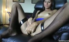 Cute ladyboy enjoys stroking her cock until it explodes !
