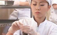 Teen asian nurses rubbing shafts for sperm medical exam
