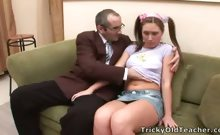 Hot coed screams and creams on her teacher's cock