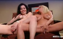 Busty MILFs Masturbating in the Living Room