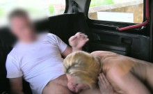 Horny Euro passenger with big tits banged in the backseat
