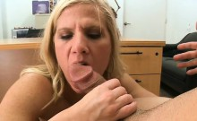 Mature playgirl gives wild blowjob