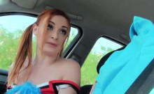 Redhead Eva gets into a strangers car